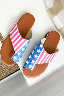 American Flag Mid Flat Heel Sandals