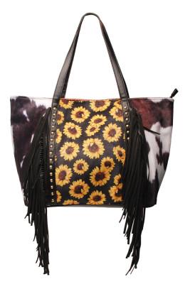 Sunflower Cow Pattern Tassel Rivet Tote Bag