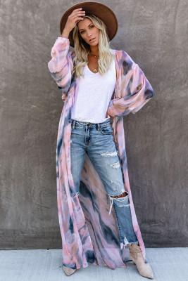 Purple Tie Front Sunscreen Blouse Kimono