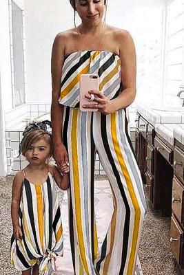 Stripe Print Mom's Family Matching Tube Jumpsuit