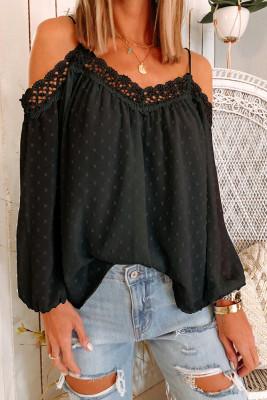 Black Polka Dot  Lace Splicing Off Shoulder Top