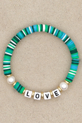 LOVE Letter Pearl Colorful Soft Pottery Bracelet