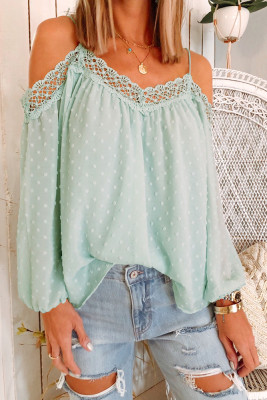 Polka Dot  Lace Splicing Off Shoulder Top