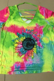 Sunflower Tie-dye Hollow-out V-neck  Short Sleeve Top