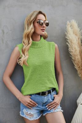 Green Knit Sleeveless Crop Top