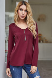 Wine Red Back Hollowed Out Long Sleeve Tee