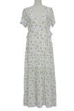 White Floral Print  Deep V-neck Ruffle Flowy Dress
