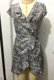 Leopard Deep V-neck Ruffle Short Sleeve Dress