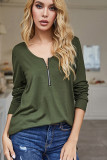 Green Back Hollowed Out Long Sleeve Tee