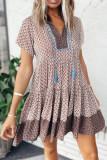 Floral Print V-neck Ruffle Short Sleeve Dress