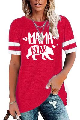 MAMA BEAR Printed Round Collar Short Sleeve Top