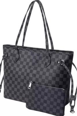 Black Color Plaid Tote bag