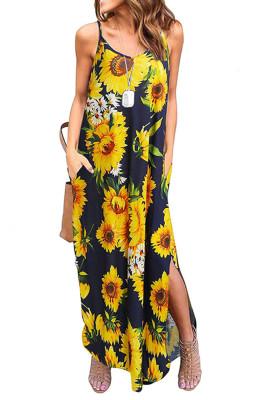 Sling V-Neck Sunflower Dress