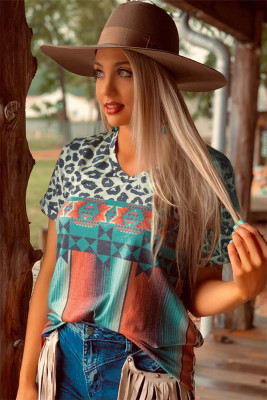 Aztec Leopard Splicing Short Sleeve T-shirt