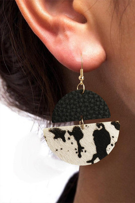 Cow PU Leather Layered Hanging Earrings
