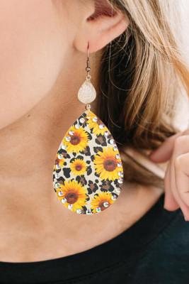 Sunflower Leopard Rhinestone Leather Earrings