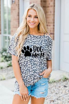 Customized Leopard Slanted Shoulder Sling O-Neck Short Sleeve Top