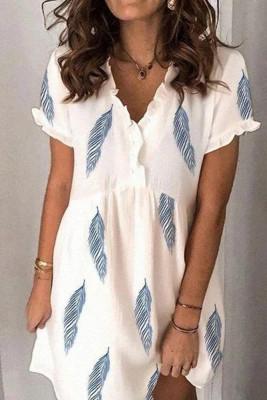 Fresh Mini V-neck Feather Print Dress