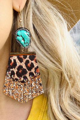 Leopard Leather Rhinestone SequinsTrendy Earrings