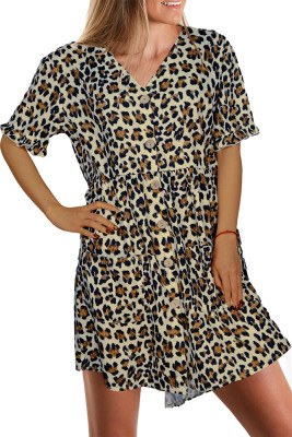 Leopard Print Button Front Ruffle V-neck Dress