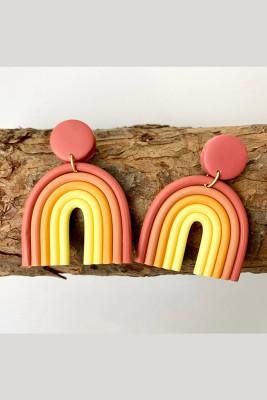 Rainbow U-shaped Polymerized Clay Earrings