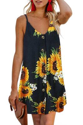 Black Sunflower Pattern Buttoned Slip Cami Dress