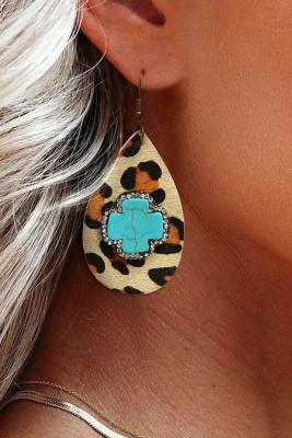 Drop Shaped Leather Leopard Earrings