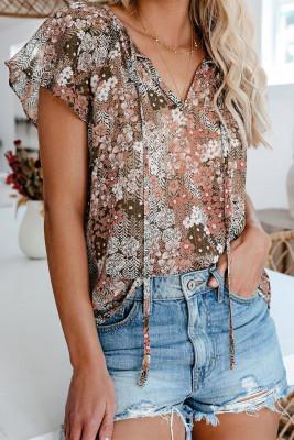 Khaki V-neck Short Sleeve Fashion Print Fantasy Fluttering Blouse