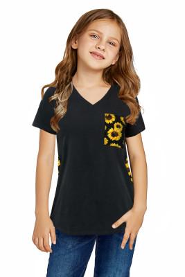 Black V Neck Sunflower Splicing Kid Tee