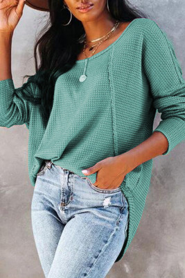 Loose Solid Color Long Sleeve Top