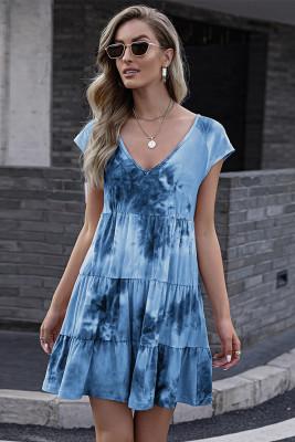 Tie-dye Print Ruffle V-neck Dress