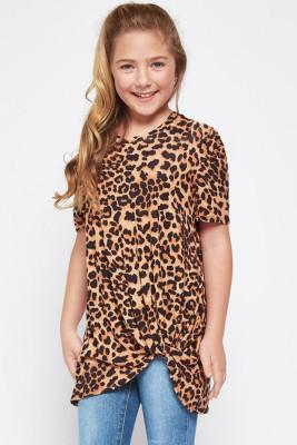 Brown Leopard Print Twist Girls Tee