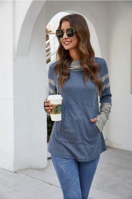 Blue Drawstring Sweatshirt with Thumb Hole