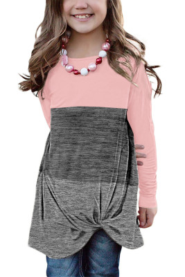 Pink Little Girls Twisted Knot Color Block Long Sleeve Top