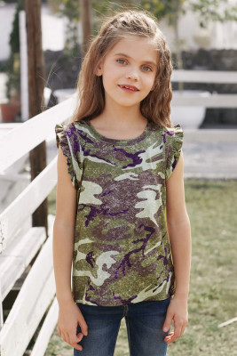 Green Camo Print Flounced Armholes Little Girls' Tank