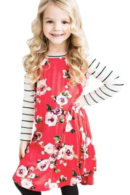 Red Spring Fling Floral Striped Sleeve Short Dress for Kids