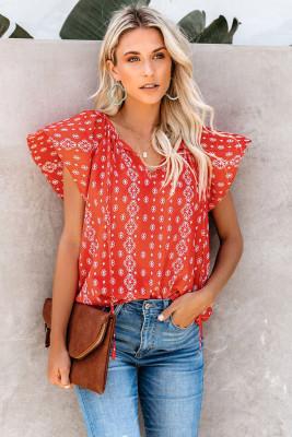 Red V-neck Short Sleeve Fashion Print Fantasy Fluttering Blouse