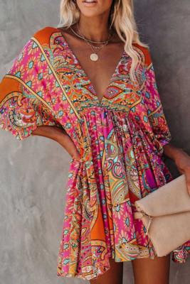 Multicolor V-Neck Three Quarters Sleeve Dress