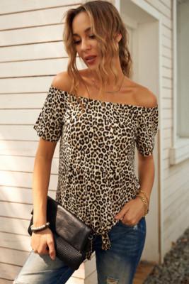 Leopard Off-The-Shoulder Short Sleeve Top