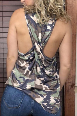Camouflage Twisted Back Tank Top