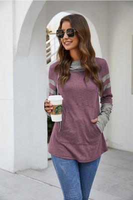 Purple Drawstring Sweatshirt with Thumb Hole