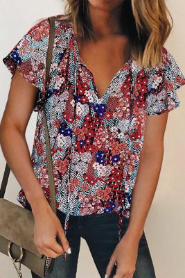 Blue V-neck Short Sleeve Fashion Print Fantasy Fluttering Blouse