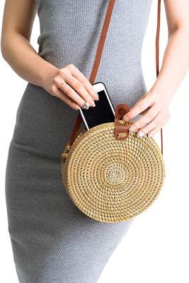 Hand Made Rattan Round Straw bag