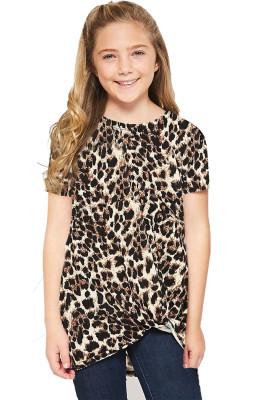 Leopard Print Twist Girls Tee