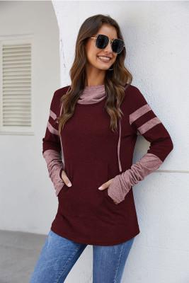 Wine Red Drawstring Sweatshirt with Thumb Hole