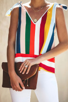Multi-colored Stripe Tie Shoulder Tank Top