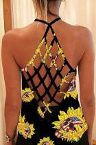 Black Sunflower Print Criss Cross Back Hollow-out Tank Top