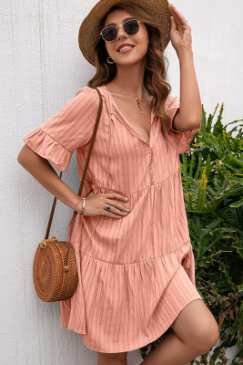 V-Neck Half Sleeve Loose Dress