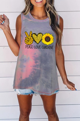 Sunflower Letters Prtined Tie-Dye Round Collar Tank Top