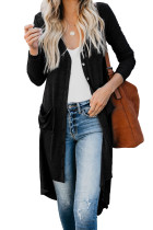 Solid Color Long Cardigan With Pockets